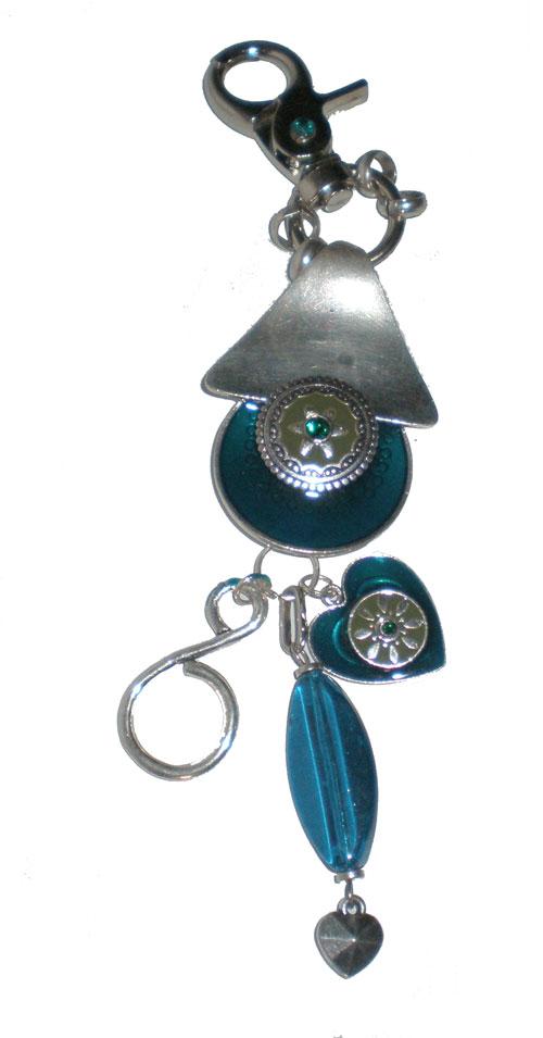 porte clef bijou de sac fantaisies mail turquoise et rhodium maryse richardson cr ations paris. Black Bedroom Furniture Sets. Home Design Ideas
