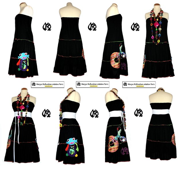 jupe longue ou robe bustier en jersey noir incrustations psychdliques colores nouvelle collection - Jupe Colore