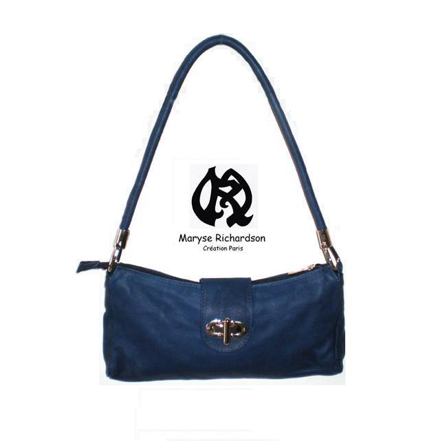 sac à main en cuir bleu marine rabat fantaisie