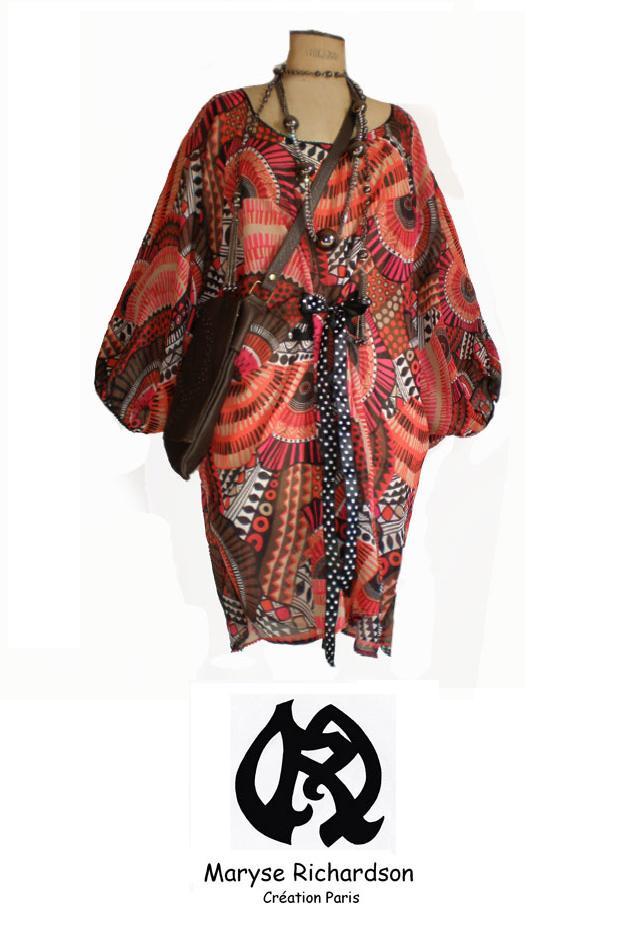 tunique robe voile imprim style ethnique taille unique du 44 au 52 maryse richardson. Black Bedroom Furniture Sets. Home Design Ideas