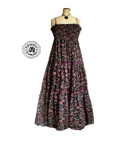 8a597116799 robe longue voile noir liberty à fines bretelles grande taille 50 52 54 ...