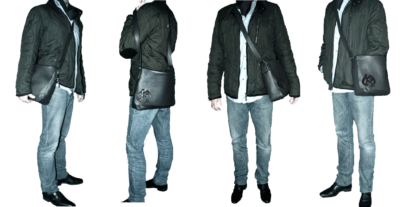 sac besace homme en cuir noir vachette doubl style luxe unisexe multipoches maryse richardson. Black Bedroom Furniture Sets. Home Design Ideas