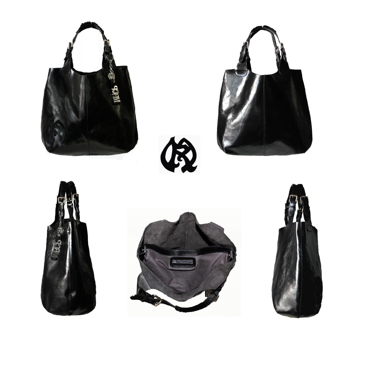 grand sac cabas modulable en besace en cuir luxe pais lisse noir maryse richardson cr ations. Black Bedroom Furniture Sets. Home Design Ideas