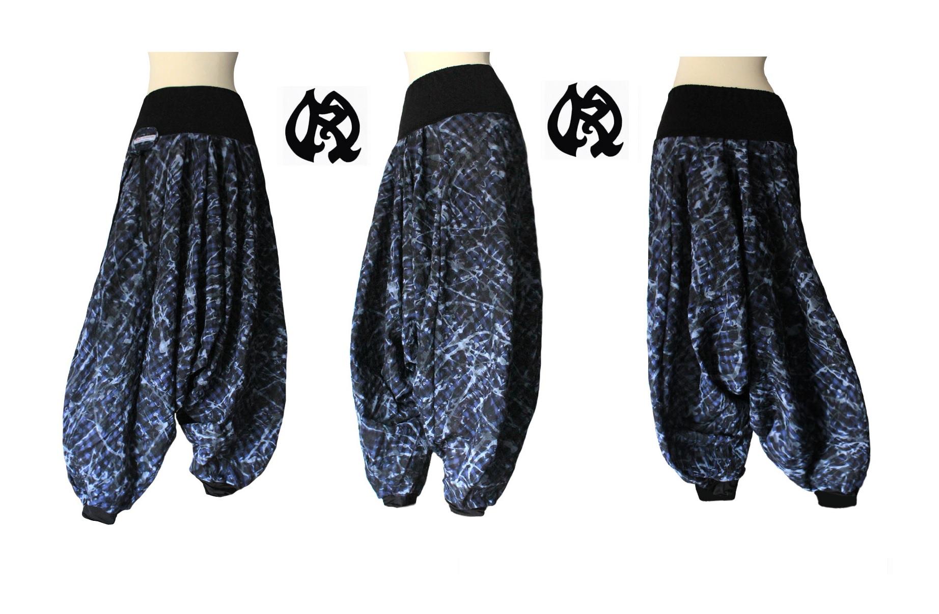 sarouel en coton fantaisie style tartan et tie and die tons bleus  taille 40 / 42