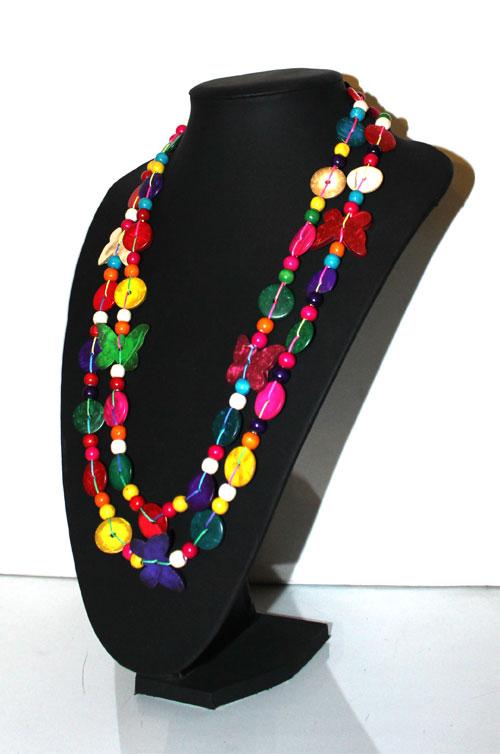 collier trs long sautoir en perles fantaisies de bois multicolores - Sautoir Fantaisie Color