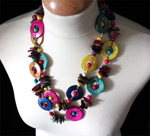 collier trs long sautoir en perles et anneaux fantaisies de bois multicolores - Sautoir Fantaisie Color
