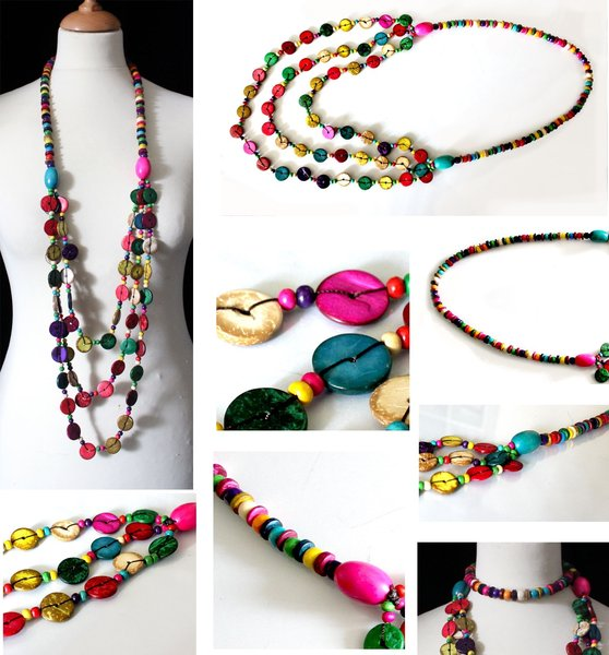 collier sautoir 3 rangs de perles et palets fantaisies de bois multicolores - Sautoir Fantaisie Color