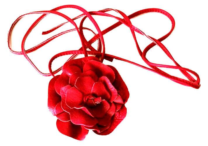 d5ffc9cae87 serre tête en cuir rouge fleur fantaisie modulable en ceinture grande  taille bracelet collier ...