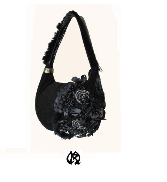 Préférence sac à main en cuir daim noir luxe incrustations haute couture  YW96