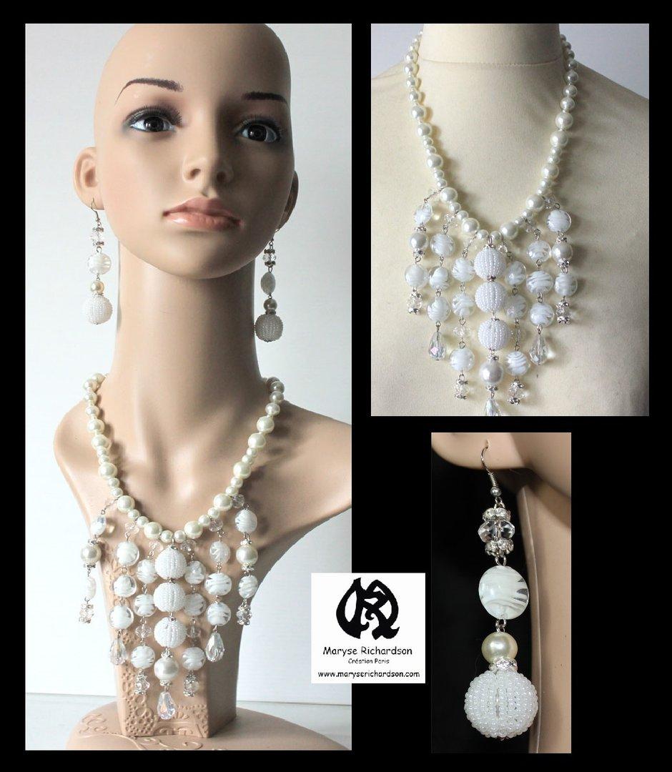 parure collier et boucles d 39 oreilles perles blanches assorties maryse richardson cr ations paris. Black Bedroom Furniture Sets. Home Design Ideas
