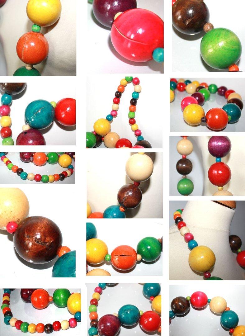 long sautoir géant en grosses perles de bois multicolore style roots ~ Grosses Perles En Bois