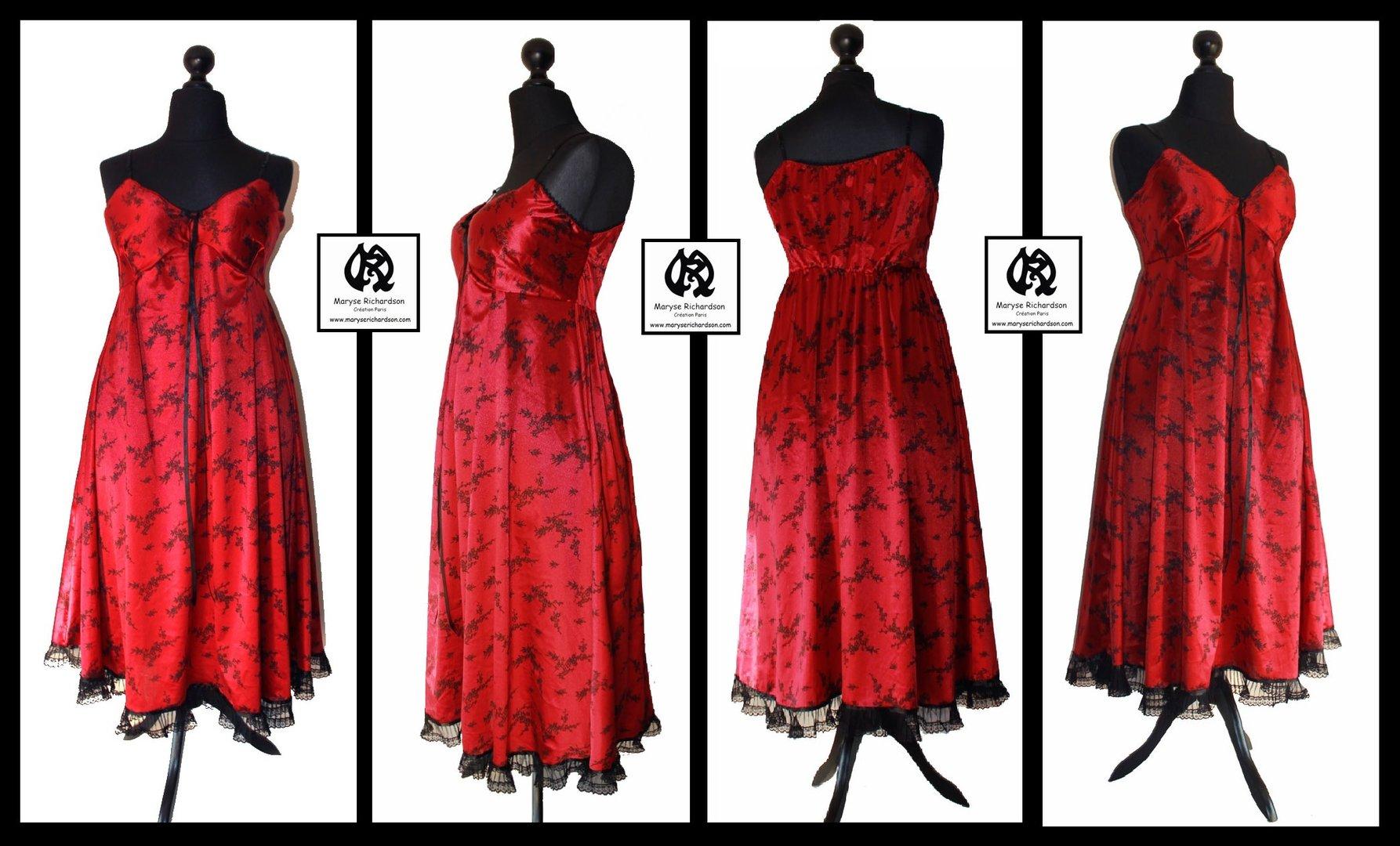 robe jersey lycra satin rouge imprim fleurs noires. Black Bedroom Furniture Sets. Home Design Ideas