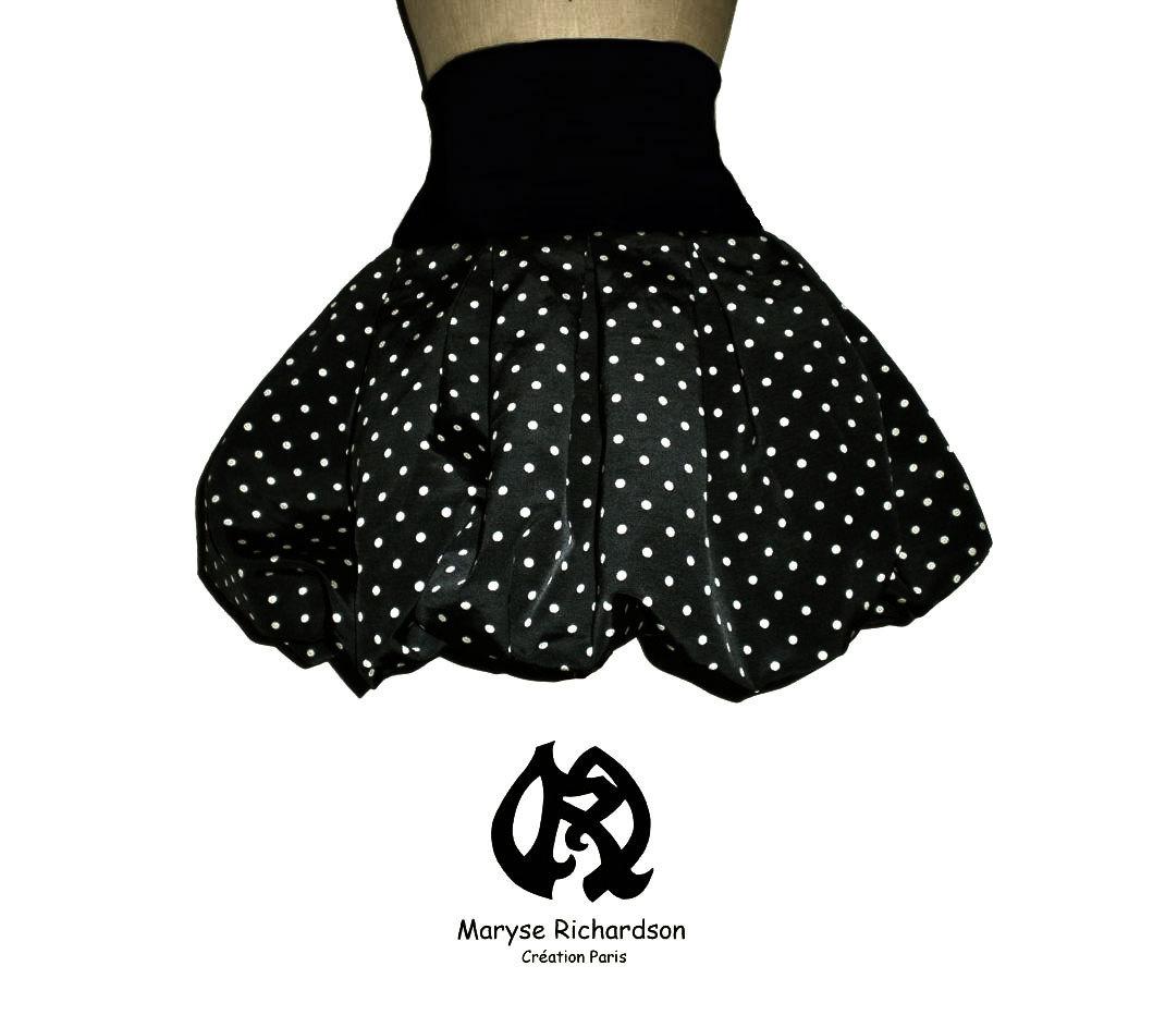 super populaire 660e7 5960b jupe boule noire à pois blancs & sur-mesure bande ceinture fantais en  jersey grande taille au choix