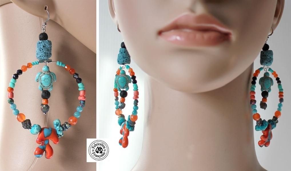boucle oreille perle couleur