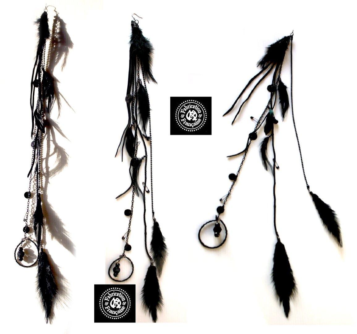 Boucle d'oreille plume longue