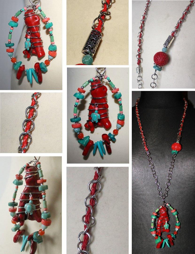 collier sautoir fantaisie style ethnique pierres perles rouge corail et turquoise menthe - Sautoir Fantaisie Color
