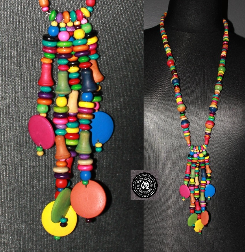 collier long sautoir en perles et pampilles de bois fantaisies multicolores - Sautoir Fantaisie Color