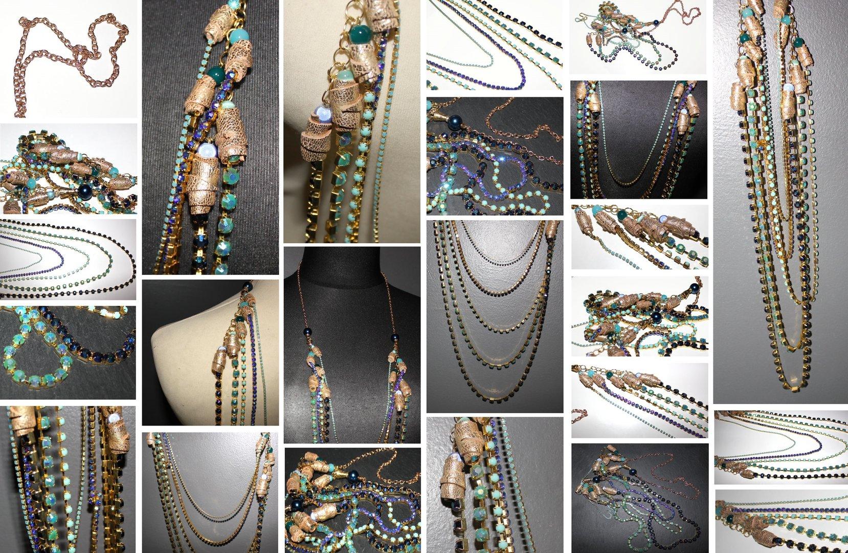 collier sautoir ethnique perles en cuir dor et cascade de chaine strass tons bleus maryse. Black Bedroom Furniture Sets. Home Design Ideas