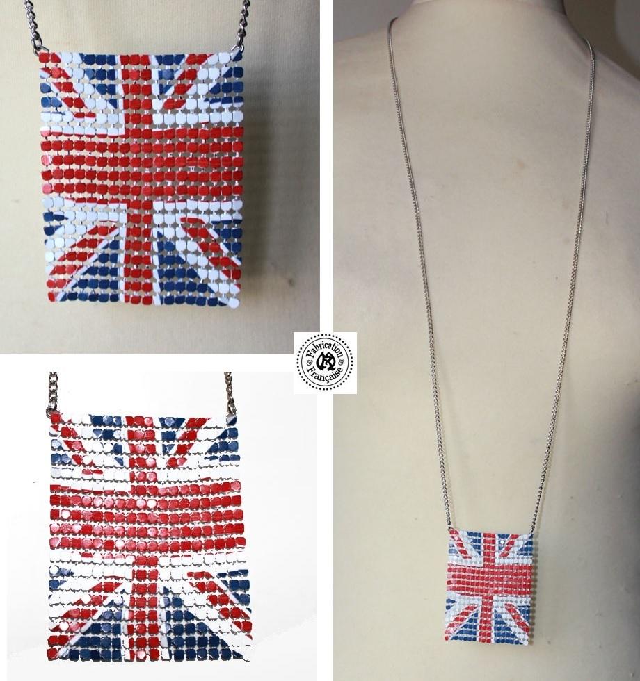 collier sautoir pendentif cotte de mailles m tal style design drapeau anglais maryse. Black Bedroom Furniture Sets. Home Design Ideas