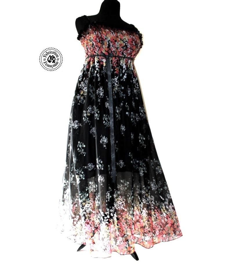 robe fluide maxi longue bretelles ajustables tissu voile. Black Bedroom Furniture Sets. Home Design Ideas