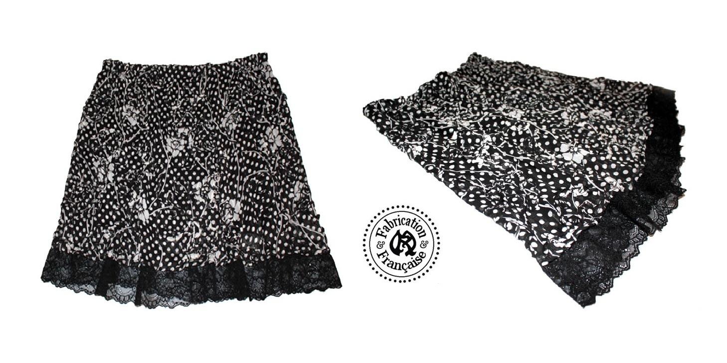jupe fluide chasuble voile imprim reliefs incrustation noir et blanc grande taille femme 46. Black Bedroom Furniture Sets. Home Design Ideas