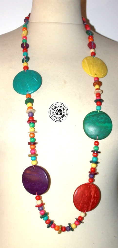 collier sautoir en perles palets fantaisies de bois multicolores - Sautoir Fantaisie Color