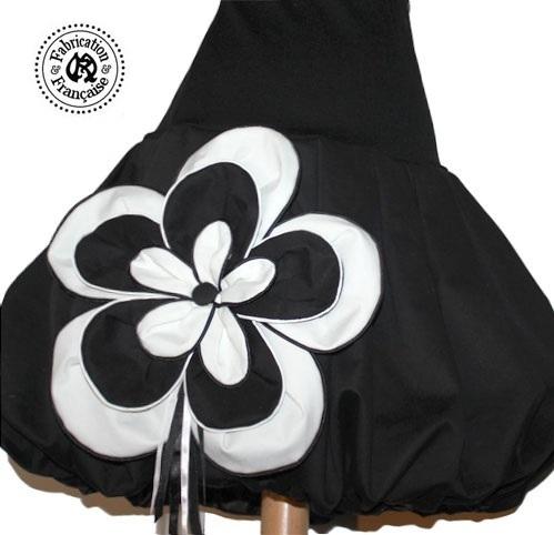 Jupe boule coton noir style 1 fleur XXL noires et blanches grandes tailles  au choix