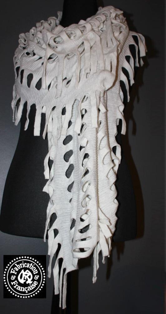 75b47a1fb15 Etole écharpe châle en laine mélangée écru fantaisie créateur style dévoré  à franges 160 x 45 ...