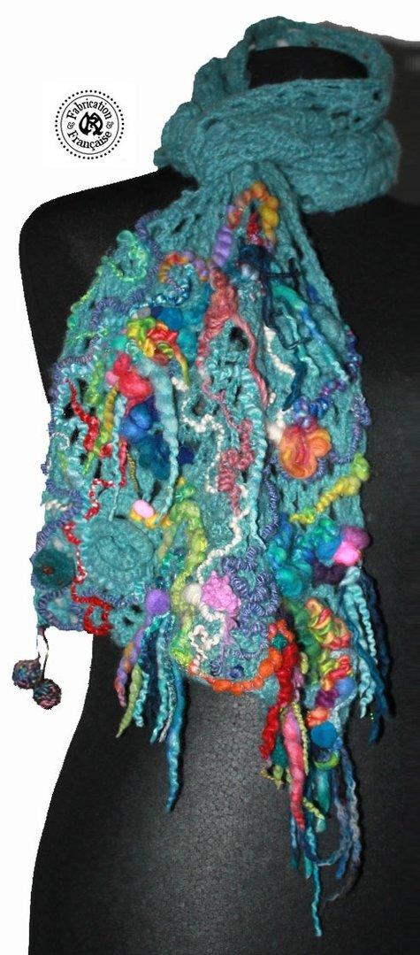 Echarpe en laines m lang es vert d 39 eau menthe et for Createur 3d