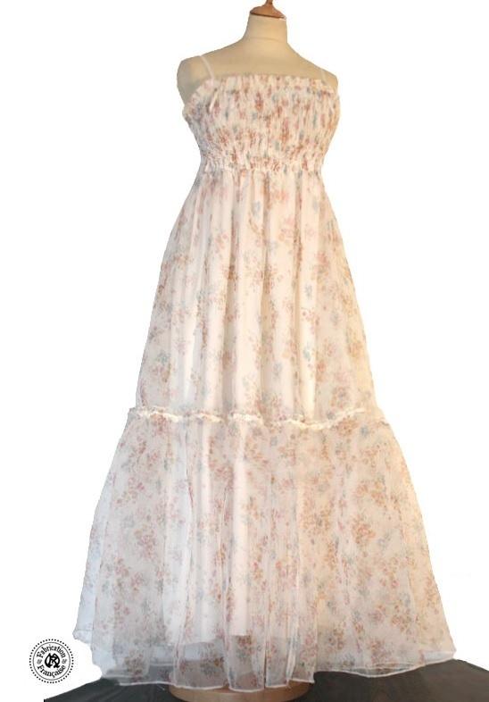 robe longue style shabby chic voile ivoire liberty à fines bretelles ...