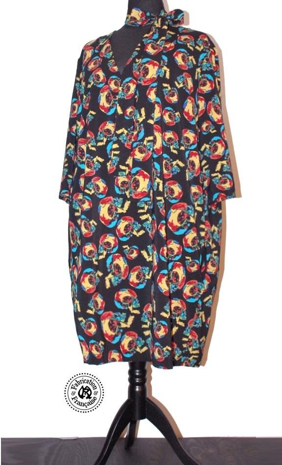 57b2061585d Robe courte tunique psychédélique grande taille viscose noire imprimée  multicolores ...