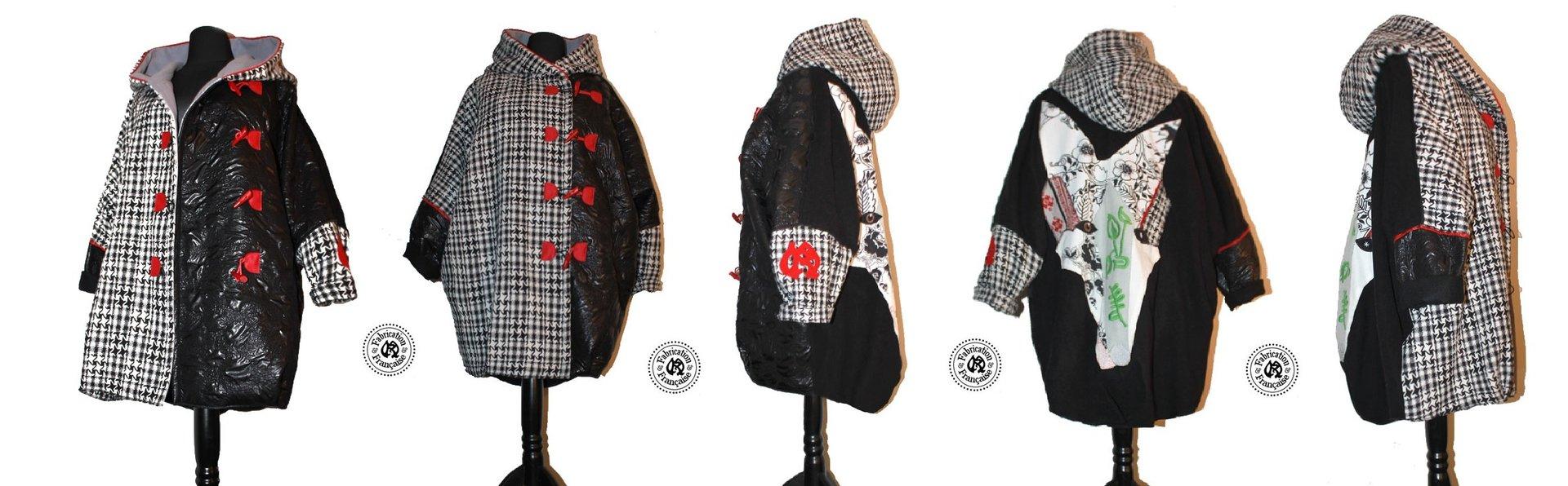 manteau veste caban drap de laine m lang noire style duffle coat patchwork femme grande taille. Black Bedroom Furniture Sets. Home Design Ideas