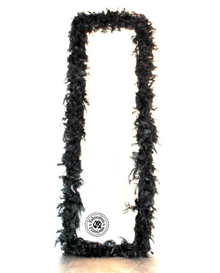 Grand et long miroir bisaut en bois habill de plumes de for Grand miroir noir baroque