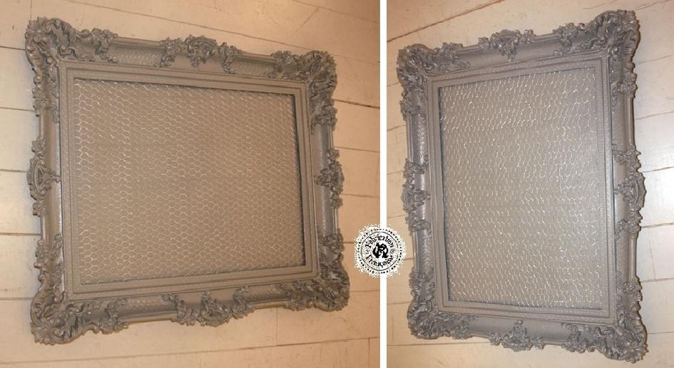 grand cadre 90 x 71 cm shabby chic r sine et bois peint gris incrust d 39 un grillage de poule. Black Bedroom Furniture Sets. Home Design Ideas