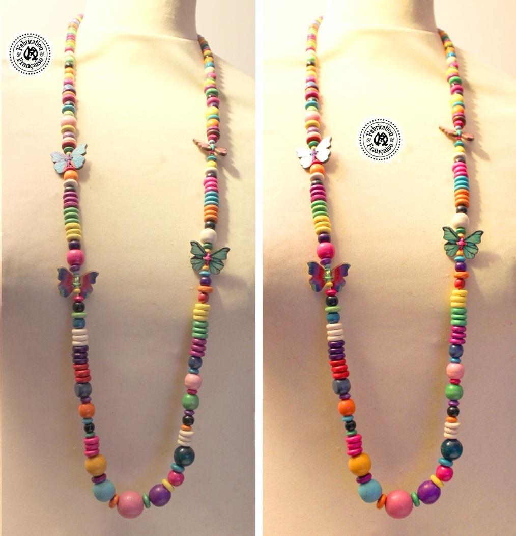 collier sautoir perles et papillons de bois multicolore maryse richardson cr ations paris. Black Bedroom Furniture Sets. Home Design Ideas