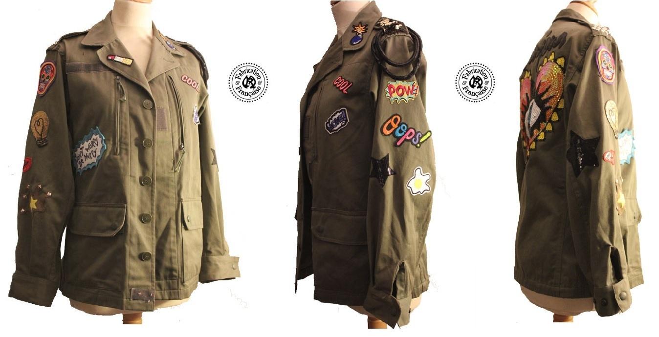 veste style militaire en coton kaki et incrustations patchs multicolores maryse richardson. Black Bedroom Furniture Sets. Home Design Ideas