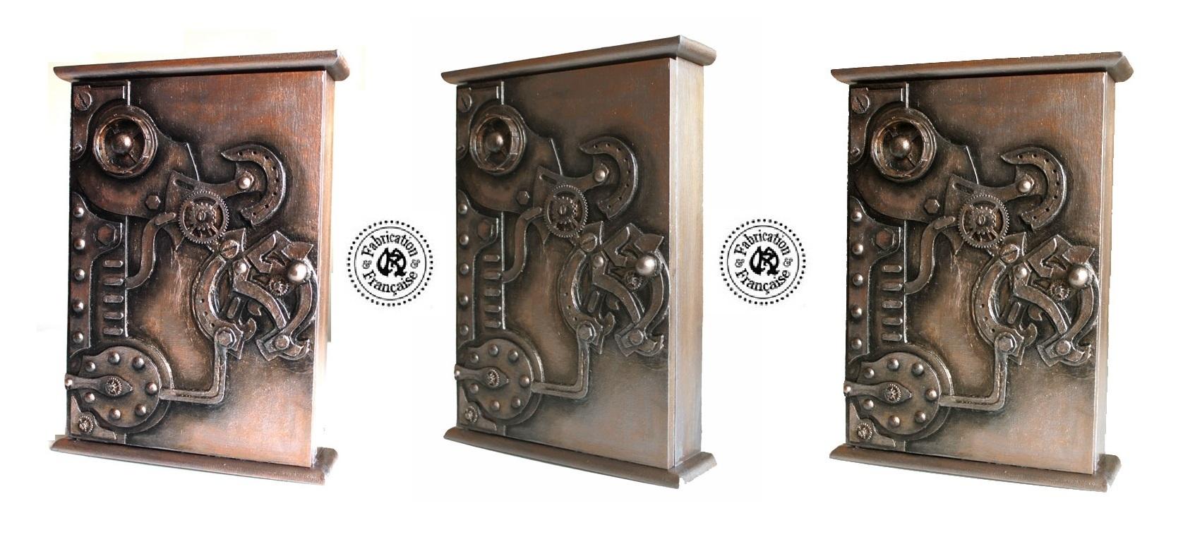 boite clefs en bois peint patin style steampunk. Black Bedroom Furniture Sets. Home Design Ideas