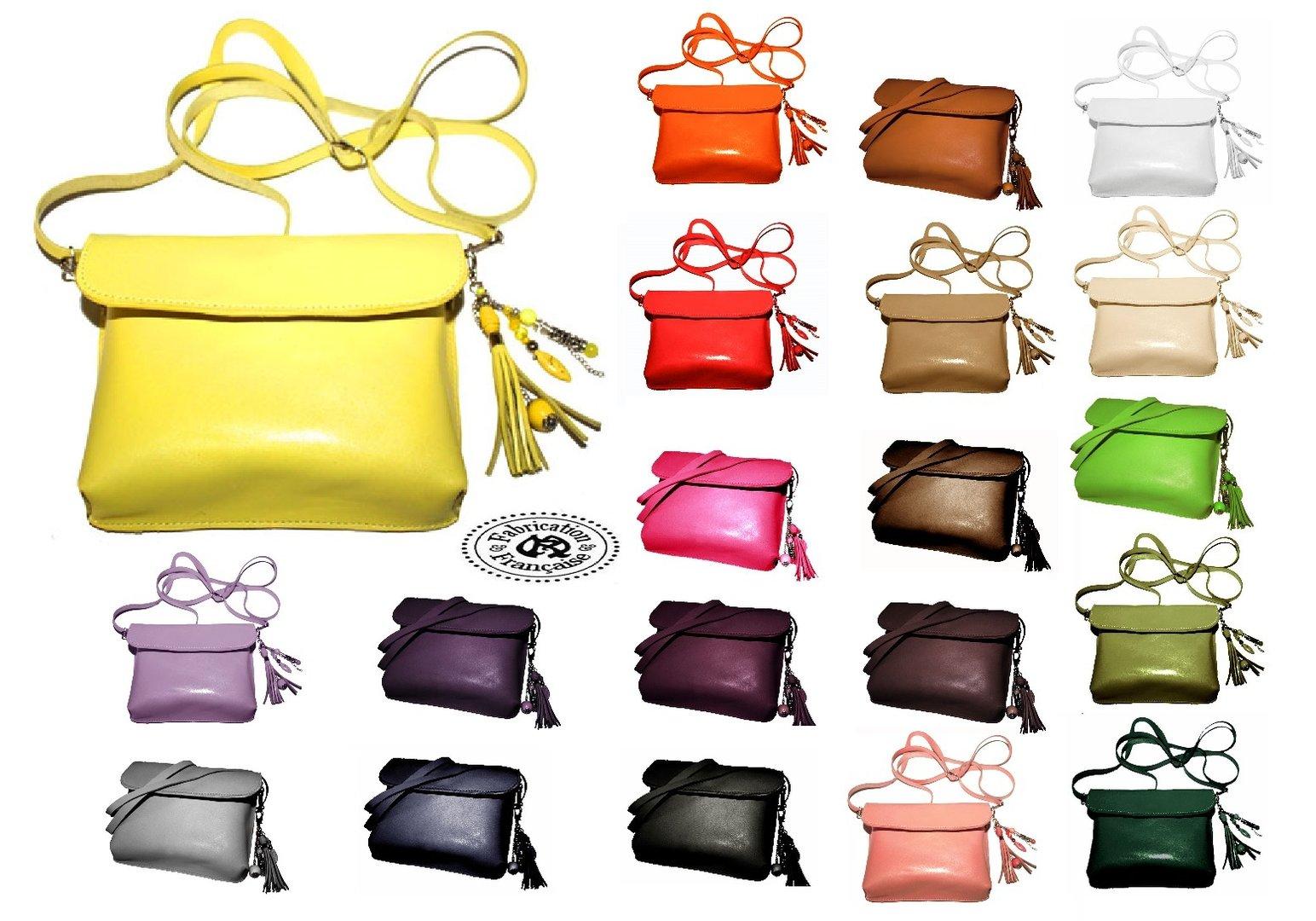 en soldes 38440 87080 Mini sac à main pochette bandoulière modulable en besace cuir lisse avec  grigri bijou de sac offert