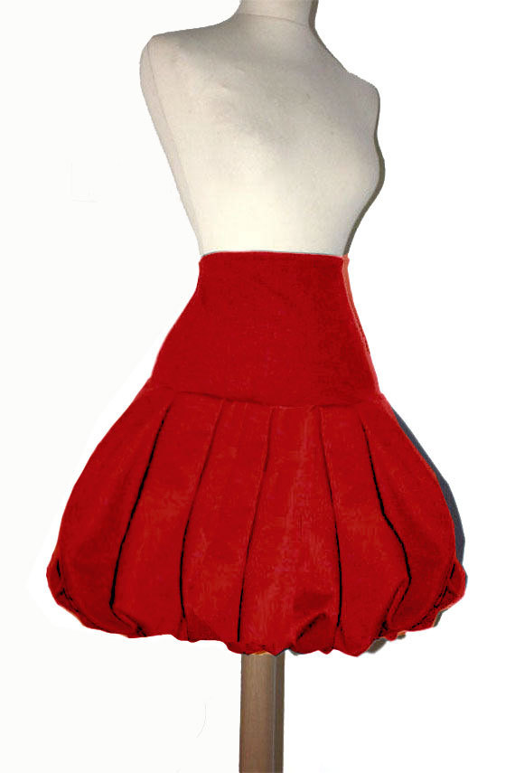 Rouge Femme Style Sur Mesure Grande Jupe Taille Simple Boule y0PnOmNwv8
