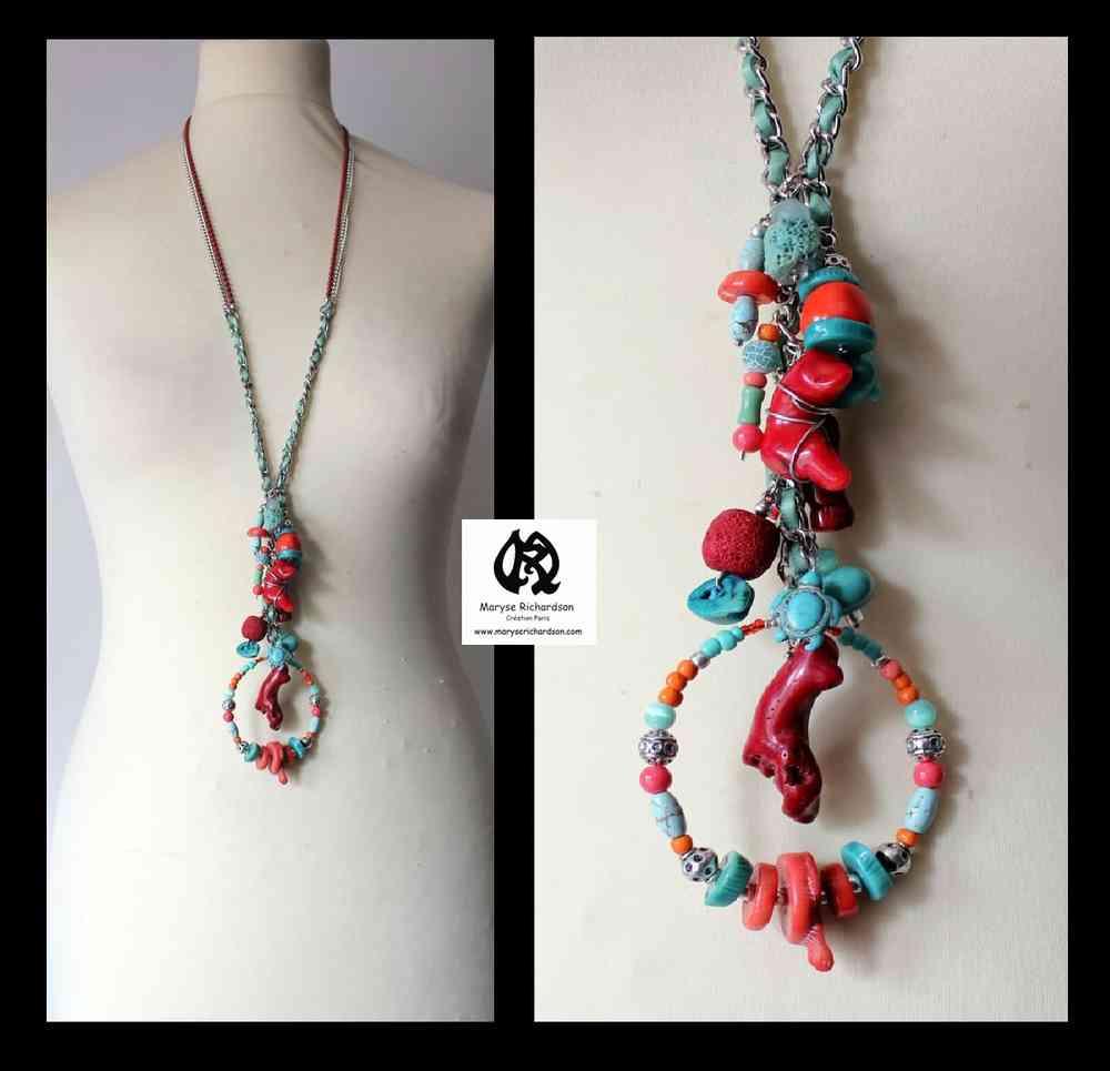 collier fantaisie couleur turquoise