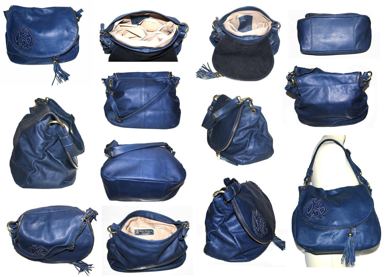 ... sac à main grand modèle L besace fantaisies fleurs en cuir daim bleu  électrique ... bfe2ff818b9c