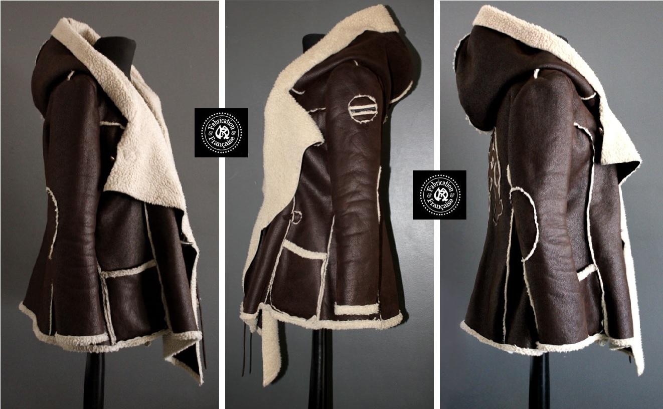 8396fac9eb8c7 ... Veste manteau asymétrique style aviateur effet mouton retourné simili cuir  marron grande taille ...