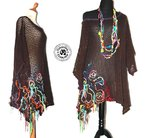 Pull tunique robe grosse mailles ajourées style poncho overside manches 3/4 laines multicolores XXL