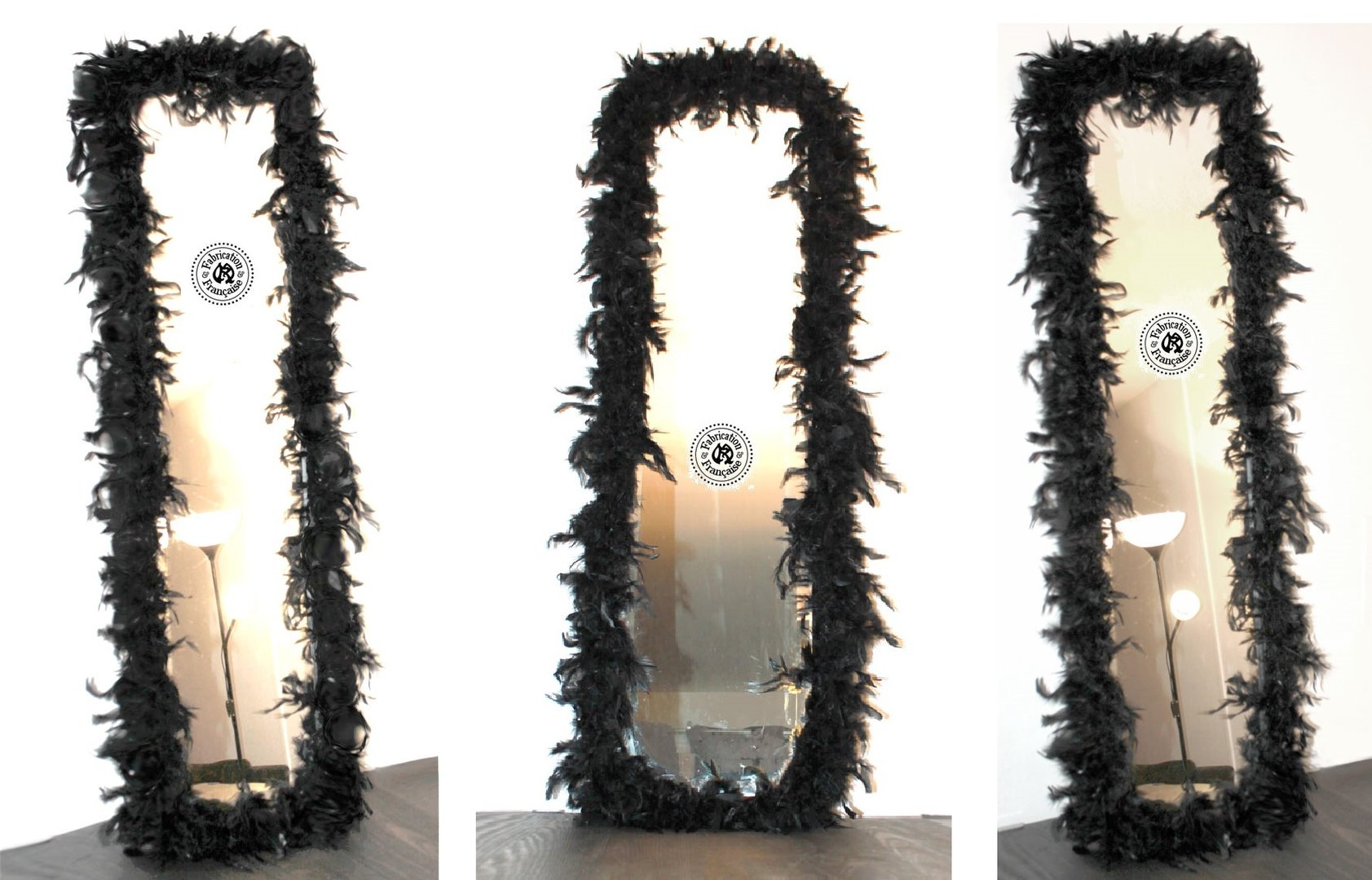 Grand et long miroir bisaut en bois habill de plumes de coq noir 40 x 140 cm style baroque for Miroir en long