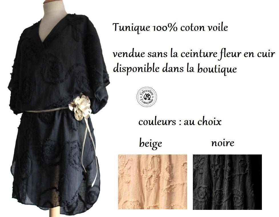 Tunique Fluide 100 Coton Voile Rubans Devores En Reliefs Grande Taille Femme Maryse Richardson Creations Paris