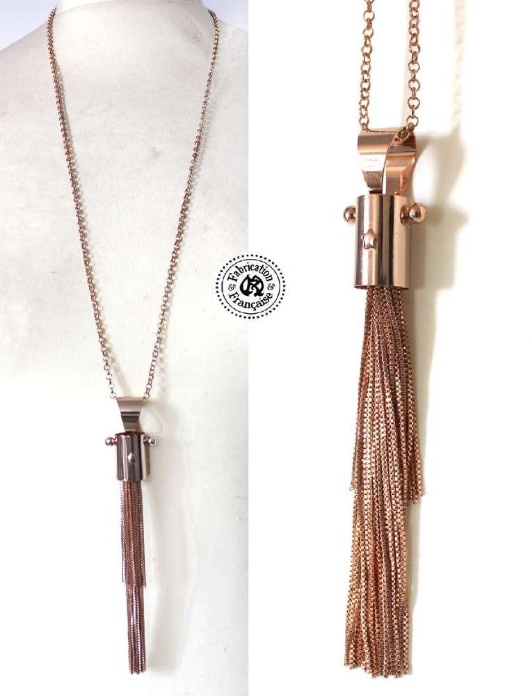 f446437dfc4d92 Collier long sautoir style design pampille pompons de fines chaines ...