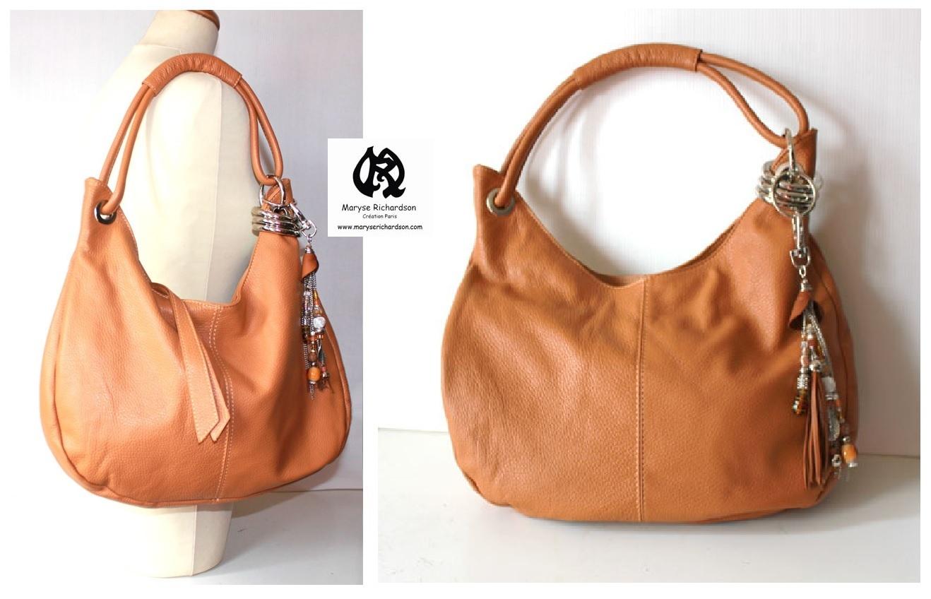 1b6a35c5cf ... sac à main en cuir 40 x 30 cm avec grigri bijou de sac coordonné offert  ...