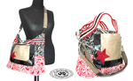 Handbag 50 x 43 x 13 cm in printed fabrics and embroidered leather luxury handles and shoulder strap