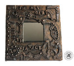 "Steampunk wood mirror painted patinated funny ""I'm not old i'm vintage ""INDUSTRIAL STYLE VINTAGE"