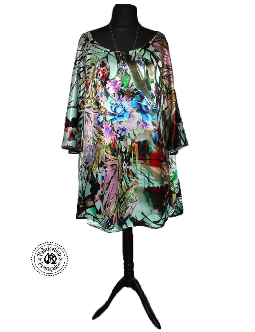 Tunique Robe Fluide Asymetrique En Satin Soie Imprime Exotique Modele Unique Taille 48 52 Maryse Richardson Creations Paris